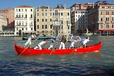 Departing for a gondola race, Venice, Veneto, Italy, Europe