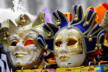 Masks for sale at a booth, Piazza San Marco Square, Venice, Veneto, Italy, Europe