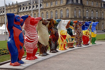 United Buddy Bears, bear parade, Schlossplatz, Stuttgart, Baden-Wuerttemberg, Germany, Europe