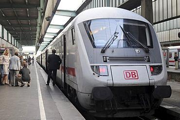 IC 2297 train headed for Salzburg, just before departure, Stuttgart Central Station, Baden-Wuerttemberg, Germany, Europe