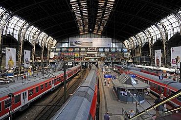 Main railway station of Hamburg, partial view, Hamburg, Germany, Europe