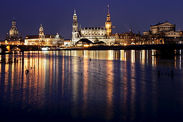 Baroque architecture in Dresden, left to right: Frauenkirche Church, Bruehl's Terrace, Hofkirche Church and Semperoper Opera House in Dresden, Saxony, Germany