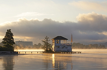 Boathouse at Woerthersee lake near Poertschach, Carinthia, Austria