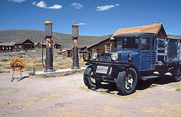 Gas station in the ghost town Bodie, California, USA