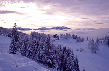 Snowy winter landscape early in the morning, Maltaberg, Hohe Tauern, Carinthia, Austria