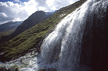Waterfall, Poellatal Valley, Hohe Tauern Range, Carinthia, Austria, Europe