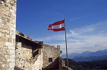 Austrian flag on Mt. Landskron, Carinthia, Austria, Europe