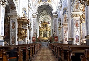 Interior view of the Benedictine Monastery's Collegiate Church Goettweig Abbey, Wachau, Austria, Europe