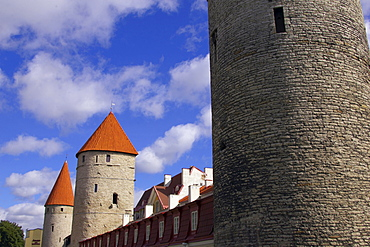 Town wall with watch towers around Tallinn, Estonia, Europe
