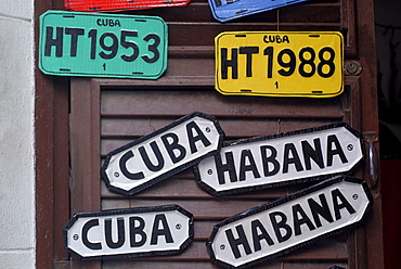 Souvenirs, licence plates and door signs, Havana, Cuba