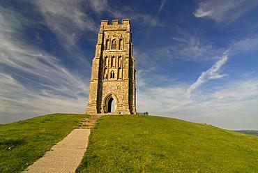 Glastonbury Tor at sunset, Ley lines, Legend of King Arthur, National Trust, Glastonbury, Mendip, Somerset, England, Great Britain, Europe