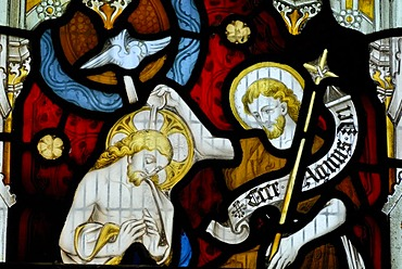 Jesus and an apostle in a church window, St. Andrew's Cathedral, Gothic cathedral, Wells, Mendip, Somerset, England, Great Britain, Europe