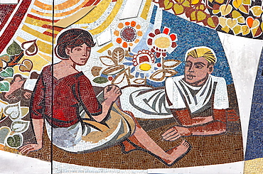 Socialistic wall mosaic made by Walter Womacka - Haus des Lehrers in Berlin, Germany, Europe