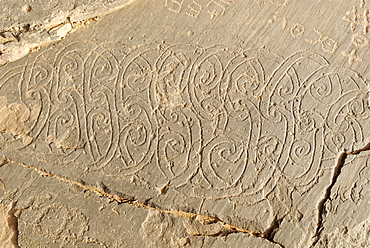 Early Islamic rock carvings, Youf Ahakit, Tassili du Hoggar, Wilaya Tamanrasset, Algeria, Sahara, North Africa