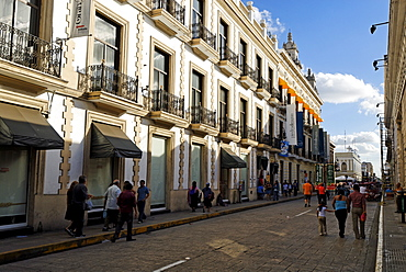 Street in the historic centre of Merida, Yucatan, Mexico
