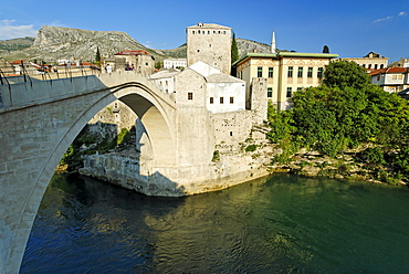 Historic centre of Mostar on the Neretva River, UNESCO World Heritage Site, Bosnia and Herzegovina, Balkans, Balkan, Europe