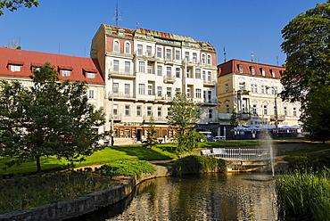 Historic hotels in the spa of Marianske Lazn& or Marienbad, Bohemia, the Czech Republic, Europe