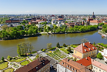 View of Wroclaw from the cathedral, Wroclaw, Silesia, Poland, Europe