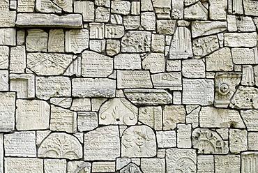 Gravestone with Hebrew inscription, Jewish cemetery Remuh, Kazimierz, UNESCO World Heritage Site, Krakow, Poland, Europe