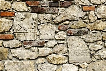 Gravestone with Hebraic inscription, Jewish graveyard Remuh, Kazimierz, UNESCO World Heritage Site, Cracow, Poland, Europe
