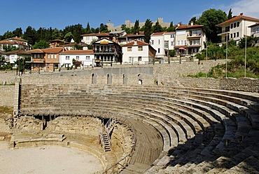 Ancient theatre in Ohrid on Lake Ohrid, UNESCO World Heritage Site, Macedonia, FYROM, Former Yugoslav Republic of Macedonia, Europe