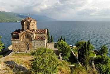 Byzantine church of Sveti Jovan, St John, from Kaneo on Lake Ohrid, UNESCO World Heritage Site, Macedonia, FYROM, Former Yugoslav Republic of Macedonia, Europe