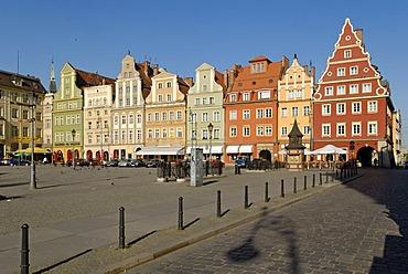 Market square Plac Solny or Salt Market, Wroclaw, Silesia, Poland