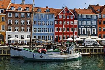 Historic boats, fishing boats in Nyhavn Harbour, Copenhagen, Denmark, Scandinavia, Europe