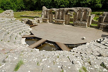 Ancient theatre in the ancient excavation site in Butrint, UNESCO World Heritage Site, Albania, the Balkans, Europe