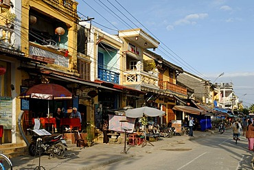 Tourist restaurants and souvenir shops on a street in Hoi An, UNESCO World Heritage Site, Vietnam, Asia