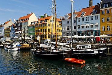Historic boats, fishing smacks in Nyhavn, Copenhagen, Denmark, Scandinavia, Europe