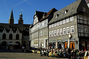 UNESCO Word Heritage Site Cafe at market Goslar Lower Saxony Germany