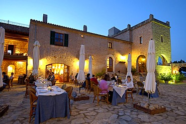 Terrace, restaurant, finca, Son Amoixa Vell, Majorca, Balearic Islands, Spain