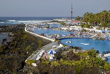 Water park with swimming pools, Puerto de la Cruz, Tenerife, Canary Islands, Spain