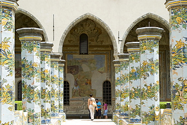 Majolica tilework in the cloister of the Church of Santa Chiara, Naples, Campania, Italy
