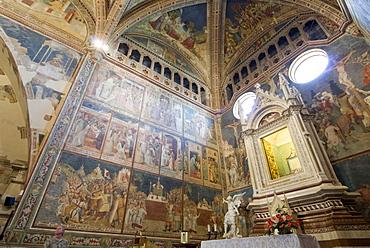 Frescoes, Capella di San Brizio, interior of Orvieto Cathedral, Orvieto, Umbria, Italy, Europe