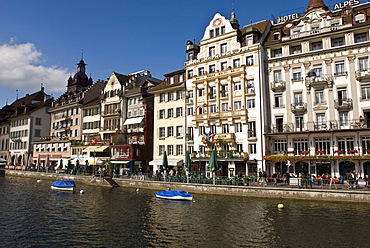 Lakeside Promenade with facades, Lucerne, Switzerland
