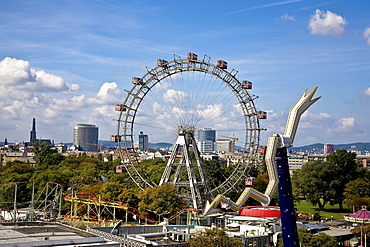 Look over the Viennese Prater with the Ferris wheel Vienna Austria