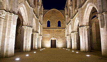 Interior of the Ruins of the Cistercian's abbey San Galgano near Siena Tuscany Italy