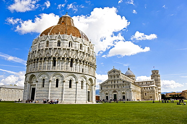 Baptistry Cathedral and Leaning tower of Pisa Piazza dei Miracoli Pisa Tuscany Italy