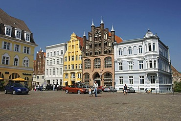 BRD Germany Mecklenburg Vorpommern City Stralsund Historical Houses in the Down Town at the Market Place