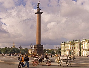 White Nights, GUS Russia St. Petersburg 300 years old Venice of the North Big Square with Alexander Columne built in 1834 by Architect Auguste Montferrand and Ermitage Winter Palace in Order of Emperor Elisabeth built by Bartolomeo Francesco Rastrelli 175