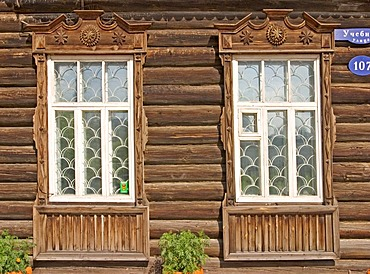 Window of an old Sibirian wooden House, Windowframe from wood, Omsk, Sibiria, Russia, GUS, Europe,