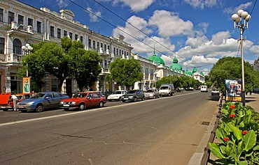 The Oldest Road of Town Lubinsky Prospekt, Stopping Road with old and beautiful Buildings and Townhouses, Omsk at the Rivers of Irtisch and Omka, Omsk, Sibiria, Russia, GUS, Europe,