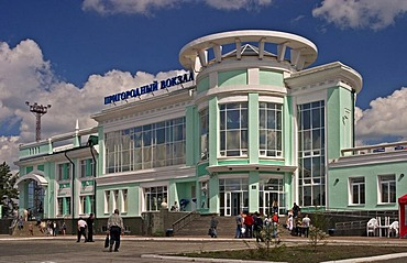 Main Railwaystation of Omsk, Omsk at the Rivers of Irtisch and Omka, Omsk, Sibiria, Russia, GUS, Europe,