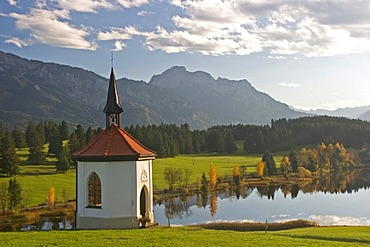 Chapel at a small lake in Autumn, Buching, Allgau, East Allgau, Bavaria, Germany, BRD, Europe,