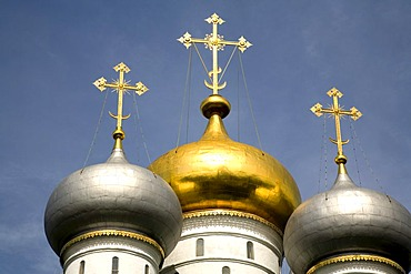 New Maiden Monastery Cupolas of the Smolensk Cathedral, Moscow, Russia, East Europe, Europe