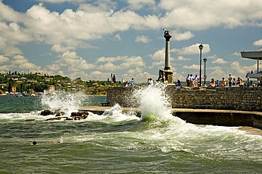 Harbour Quay with the Memorial of sunken Ships, Sevastopol, Crimea, Ukraine, South-Easteurope, Europe,