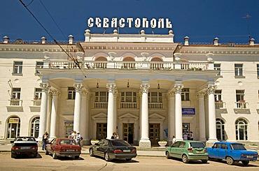 Column Entrance to the Hotel Sevastopol, Sevastopol, Crimea, Ukraine, South-Easteurope, Europe,
