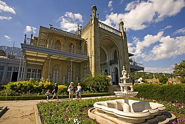 Park with Fountain at the Voroncov Palace, Jalta, Crimea, Ukraine, South-Easteurope, Europe,